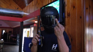 Dave with his helmet and bud light