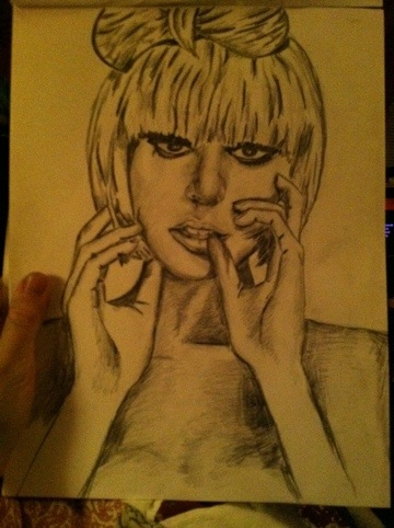 lady gaga pencil sketch